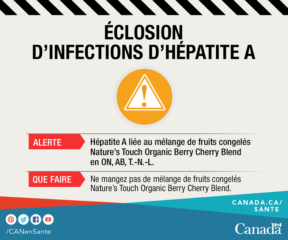 Avis de santé publique – Éclosion de cas d'hépatite A; avis aux consommateurs d'éviter le Mélange de baies et de cerises biologiques congelées de marque Nature's Touch